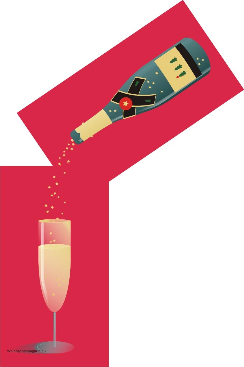 Champagner Flasche mit Glas